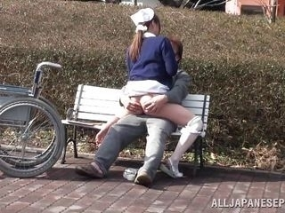 japanese nurse fucks this old geezer in the park